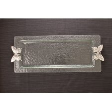 Butterfly Glass Rectangular Serving Tray