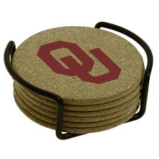 7 Piece University of Oklahoma Cork Collegiate Coaster Gift Set