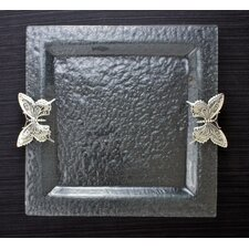 Butterfly Glass Square Serving Tray