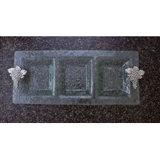 Grapes 3-Section Glass Rectangular Serving Tray