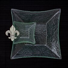 Fleur de Lis 2 Piece Glass Square Chip 'n Dip Serving Dish Set