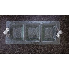 Shells 3-Section Glass Rectangular Serving Tray
