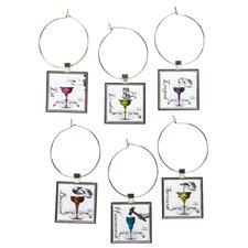 6 Piece Drunk Wine Glass Charm Set