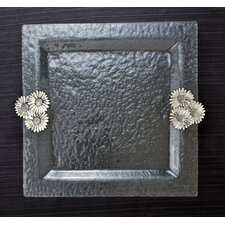 Daisy Glass Square Serving Tray