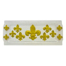 Fleur de Lis Hammered Glass Rectangular Serving Tray