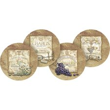 4 Piece Wine Labels Occasions Coaster Set