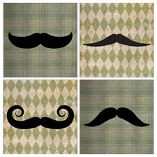 <strong>Thirstystone</strong> 4 Piece Classic Mustaches Occasions Coaster Set