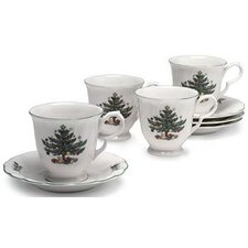 Happy Holidays Cup and Saucer (Set of 4)