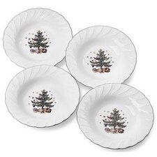 "Happy Holidays 9"" Rim Soup Bowl (Set of 4)"