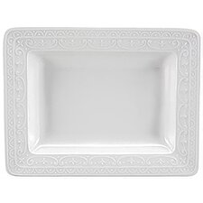 "<strong>Nikko Ceramics</strong> Blanc Fleur 6.25"" Rectangular Serving Tray"