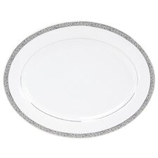 "Sentiments Platinum Filigree 14"" Oval Platter"