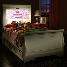 Edgewood Sleigh Bed with Storage and back-lit LED Headboard Imagery