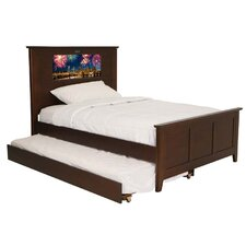 Shaker Full Panel Bed with Trundle, Fireworks and Dolphins Interchangeable HeadLightz