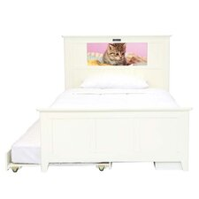 Shaker Full Panel Bed with Storage and Trundle, Kitten and Dolphins Interchangeable HeadLightz