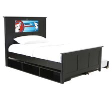 Shaker Full Panel Bed with Storage and Trundle, Dog and Dolphins Interchangeable HeadLightz