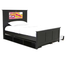 Shaker Full Panel Bed with Storage and Trundle, Pop Art and Dolphins Interchangeable HeadLightz