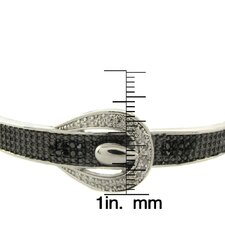 Silver Overlay 1/4 Carat TW Black and White Diamond Buckle Bangle