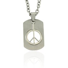 Stainless Steel Cutout 'PeaceSign' Tag Pendant