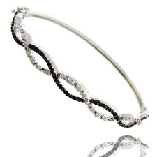 Silver Overlay Black and White Diamond Accent Infinity Bangle