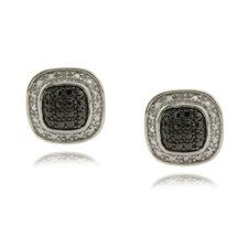 Silver Overlay Diamond Accent Black and WhiteSquare Stud Earrings