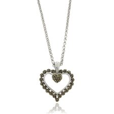 Silver Overlay Marcasite Scalloped Heart Pendant Necklace