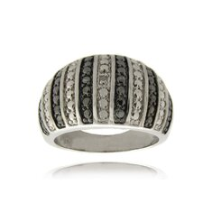 <strong>Gem Jolie</strong> Silver Overlay Diamond Accent Black and White Stripe Ring