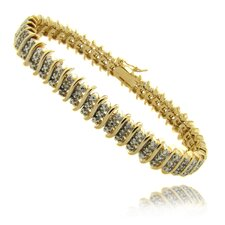 "Gold Overlay 1/4 Carat TW Diamond Three Row ""S"" Bracelet"