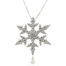Silver Overlay Diamond Accent Snowflake Necklace