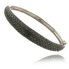 Silver Overlay Black Diamond Accent Bangle