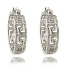 Silver Overlay 1/4 Carat TW Diamond Greek Key Design Hoop Earrings