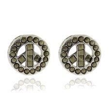 Silver Overlay Marcasite Peace SymbolStud Earrings
