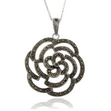 Silver Overlay Marcasite Rose Pendant Necklace
