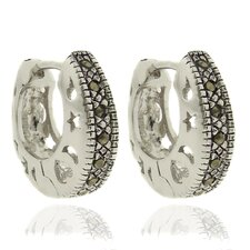 Silver Overlay Marcasite Shapes Design Hoop Earrings