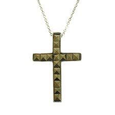 Silver Overlay Marcasite Square Cross Pendant Necklace