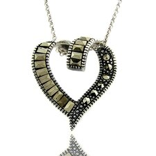 Silver Overlay Marcasite Twisted Heart Pendant Necklace