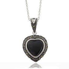 Silver Overlay Marcasite and Black Onyx Heart Pendant