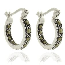 <strong>Gem Jolie</strong> Silver Overlay Marcasite Hoop Earrings