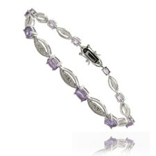 Blue Topaz and Diamond Accent Marquise Design Bracelet