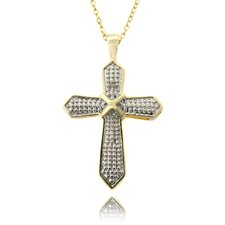 Gold Overlay and Diamond Accent Cross Necklace