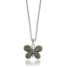 Silver Overlay Marcasite Butterfly Pendant Necklace