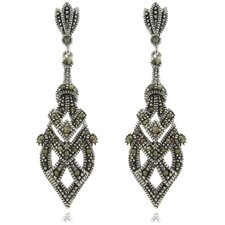 Silver Overlay Marcasite Dangle Earrings