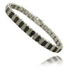 Silver Overlay Diamond Accent Black and WhiteStripe Bracelet