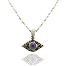 <strong>Gem Jolie</strong> Silver Overlay Marcasite and Gemstone Evil Eye Pendant Necklace