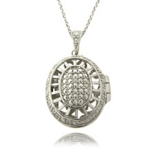 Silver Overlay and Diamond Accent Oval Locket Necklace