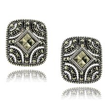 <strong>Gem Jolie</strong> Silver Overlay Marcasite SquareStud Earrings