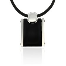 Stainless Steel Black Tag Pendant