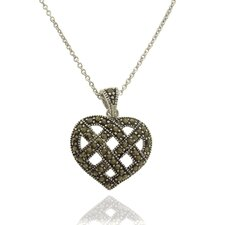 Silver Overlay Marcasite Lattice Heart Pendant Necklace