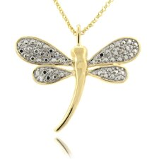 Silver Overlay Diamond Accent Dragonfly Necklace