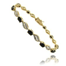 Gold Ovelay Sapphire and Diamond Accent Marquise Design Bracelet