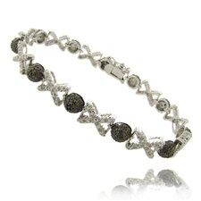Silver Overlay Diamond Accent Black and White XO Bracelet